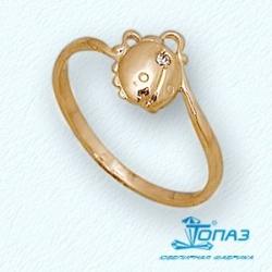 Детское золотое кольцо Жучок с фианитом