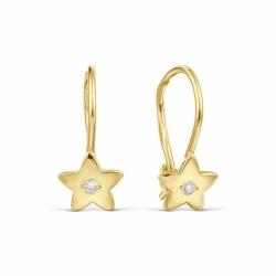 Детские серьги Звезды из желтого золота с фианитами