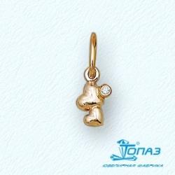 Детская золотая подвеска Сердца с фианитом
