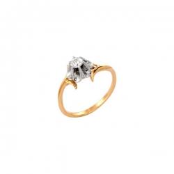 Кольцо из жёлтого золота 585 пробы с фианитом