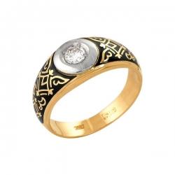 Кольцо из золота 585 пробы с фианитом и эмалью