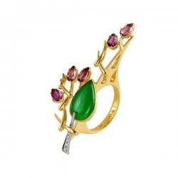Кольцо из золота с аметистами, бриллиантом, хризопразом