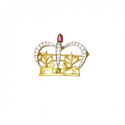 Брошь Корона из золота с бриллиантами, родолитом, хризолитом