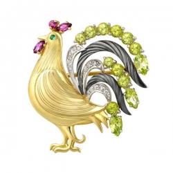 Золотая брошь «Петушок»