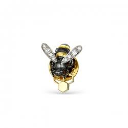 Брошь Пчела из жёлтого золота с бриллиантами