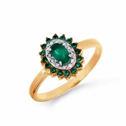Золотое кольцо с изумрудом, бриллиантами