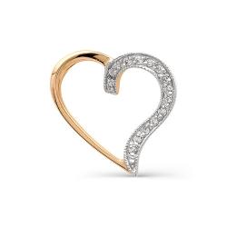Золотая подвеска в виде сердца с бриллиантами