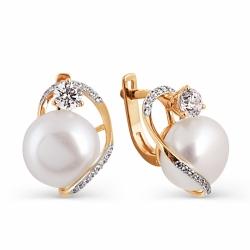 Золотые серьги с белым жемчугом, бриллиантами
