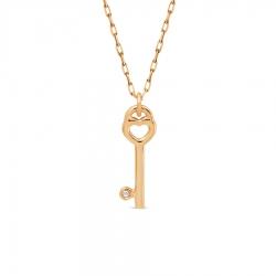 Золотое колье Ключик с бриллиантом