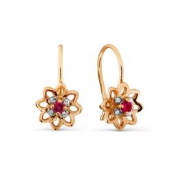 Детские золотые серьги с рубином и бриллиантом