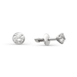 Гвоздики из белого золота с круглыми бриллиантами