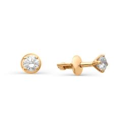 Гвоздики из золота с круглыми бриллиантами