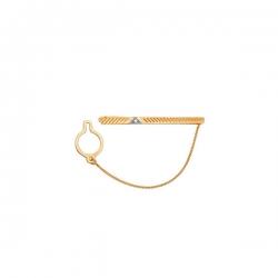 Зажим для галстука из золота 585 пробы с фианитом
