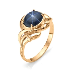 Золотое кольцо с большим звездчатым сапфиром