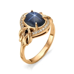Золотое кольцо со звездчатым сапфиром и бриллиантами