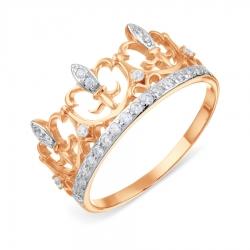 Золотое кольцо Корона с фианитами