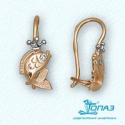 Детские золотые серьги Рыбки с фианитами