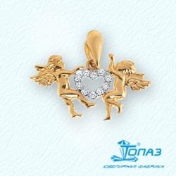 Золотая подвеска Ангелы с фианитами