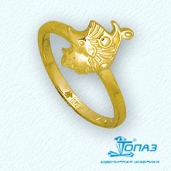 Детское кольцо Ежик из желтого золота