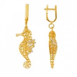 Серьги Морские коньки из желтого золота