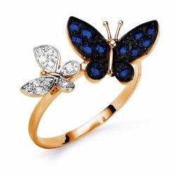 Золотое кольцо Бабочки с сапфирами, бриллиантами