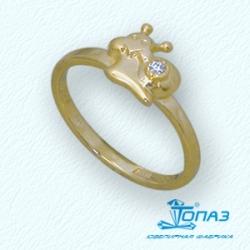 Детское кольцо Улитка из желтого золота с фианитом