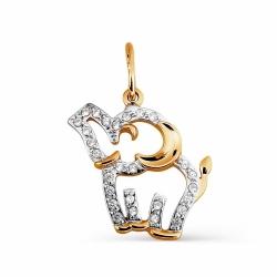 Золотая подвеска Слон с фианитами