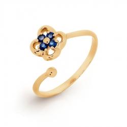 Золотое кольцо Цветок с сапфирами