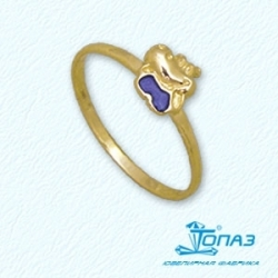 Детское кольцо Бегемотик из желтого золота с эмалью