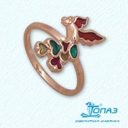 Детское золотое кольцо Птица с эмалью