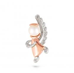 Золотая подвеска Ангелочек c бриллиантом с белым жемчугом