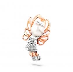 Золотая подвеска Ангелок c бриллиантом с белым жемчугом