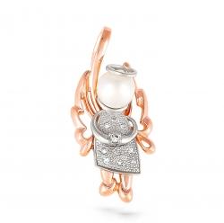 Золотая подвеска в виде ангела c бриллиантом с белым жемчугом