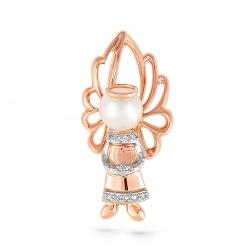 Золотая подвеска Ангел c бриллиантом с белым жемчугом