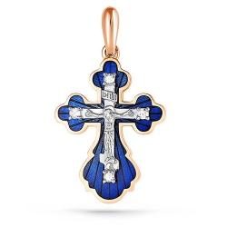 Крест из красного золота 585 пробы с бриллиантами и эмалью