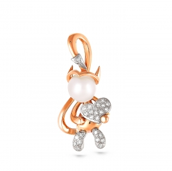 Золотая подвеска Чертик c бриллиантом с белым жемчугом
