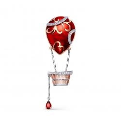 Золотая подвеска Воздушный шар c сапфиром и бриллиантом