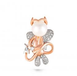 Золотая подвеска в виде чертика c бриллиантом с белым жемчугом