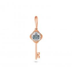 Золотая подвеска Ключ c бриллиантом