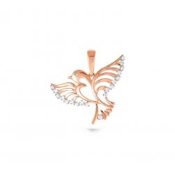 Золотая подвеска Птица c бриллиантом