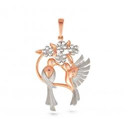 Золотая подвеска Птицы c бриллиантом