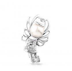 Подвеска Ангел из белого золота c бриллиантом с белым жемчугом
