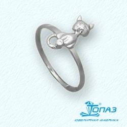 Детское кольцо Котята из белого золота с фианитом