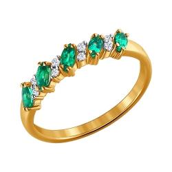 Золотое кольцо c изумрудами и бриллиантами SOKOLOV