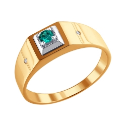 Мужское кольцо из комбинированного золота с изумрудом SOKOLOV