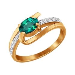 Золотое кольцо c изумрудом и бриллиантами SOKOLOV