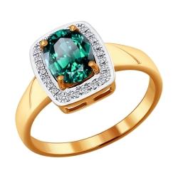 Золотое кольцо c большим изумрудом и бриллиантами SOKOLOV