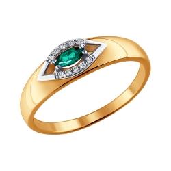 Кольцо из комбинированного золота с изумрудом SOKOLOV