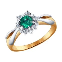 Золотое кольцо «Цветок» (Изумруд, Топаз Swarovski) SOKOLOV