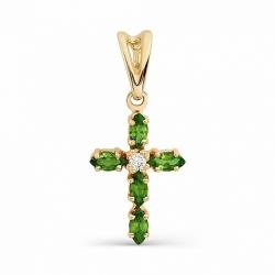 Золотой крестик с изумрудами и бриллиантом